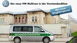 Werbeanzeige mit Martin Winterkorn in einem Gefangenentransporter von VW. Überschrift: Der neue VW Multivan in der Vorstandsedition. Mit neuer Wegfahrsperre.
