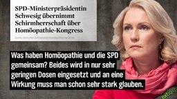 SPD-Ministerpräsidentin Schwesig übernimmt Schirmherrschaft über Homöopathie-Kongress. Was haben Homöopathie und die SPD gemeinsam? Beides wird in nur sehr geringen Dosen eingesetzt und an eine Wirkung muss man schon sehr stark glauben.