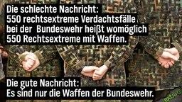 Die schlechte Nachricht: 550 rechtsextreme Verdachtsfälle bei der Bundeswehr heißt womöglich 550 rechtsextreme mit Waffen. Die gute Nachricht: Es sind nur die Waffen der Bundeswehr.