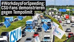 #WorkdaysForSpeeding: CSU-Fans demonstrieren gegen Tempolimit