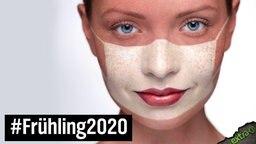 Frühling 2020: Heller Abdruck im Gesicht vom Tragen der Maske.