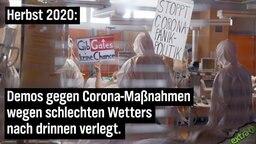 Herbst 2020: Demos gegen Corona-Maßnahmen wegen schlechten Wetters nach drinnen verlegt. (im Bild: eine Intensivstation)