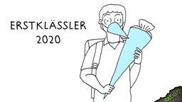 Erstklässler 2020 mit zwei Schultüten.