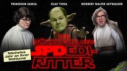 Die Rückkehr der SPDedi Ritter mit Prinzessin Saskia, Olaf Yoda und Norbert Walter Skywalker. Nächstes Jahr an ihrer Wahlurne.