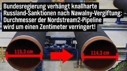 Bundesregierung verhängt knallharte Russland-Sanktionen nach Nawalny-Vergiftung: Durchmesser der Nordstream 2-Pipeline wird um einen Zentimeter verringert!