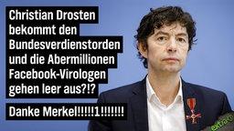 Christian Drosten bekommt den Bundesverdienstorden und die Abermillionen Facebook-Virologen gehen leer aus?!? Danke Merkel!!!!!!1!!!!!!!