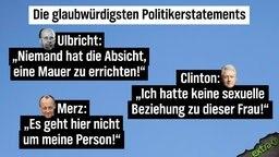 """Die glaubwürdigsten Politikerstatements - Walter Ulbricht: """"Niemand hat die Absicht eine Mauer zu errichten!"""" - Clinton: """"Ich hatte keine sexuelle Beziehung zu dieser Frau!"""" - Merz: """"Es geht hier nicht um meine Person!"""""""