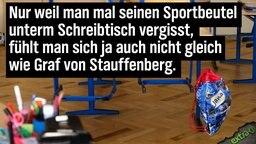 Nur weil weil man mal seinen Sportbeutel unter dem Schreibtisch vergisst, fühlt man sich ja auch nicht gleich wie Graf von Stauffenberg.