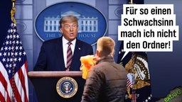 """Der Ordner der Querdenken-Demo in Hannover mit seiner ausgezogenen Ordnerweste vor dem Redner-Pult mit Donald Trump sagt: """"Für so einen Schwachsinn mache ich nicht den Ordner!"""""""
