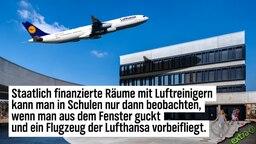 Staatlich finanzierte Räume mit Luftreinigern kann man in Schulen nur dann beobachten, wenn man aus dem Fenster guckt und ein Flugzeug der Lufthansa vorbeifliegt.