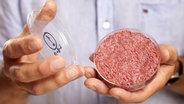 Professor Mark Post von der Universität Maastricht präsentiert künstliches Fleisch in einer Petrischale. © picture alliance/dpa Foto: David Parry / Pa Wire Handout