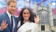 Prinz Harry und Meghan Markle vor der St. Georges Kapelle. (Montage) © Picture-Alliance / Photoshot/ dpa, Fotolia, picture alliance / empics / PA Wire Fotograf: Photoshot, mozZz, Dominic Lipinski