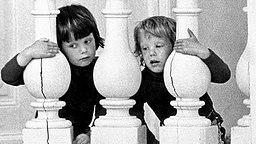 15. Juni 1973: Von einer Balustrade auf Schloss Christiansborg in Kopenhagen beobachten Prinz Frederik (links) und sein Bruder Prinz Joachim ein Mittagessen der Nato-Außenminister © Picture-Alliance / dpa / Polfoto