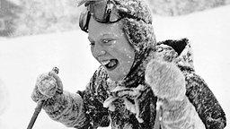 Die dänische Prinzessin Margrethe 1954 beim Skifahren in Norwegen. © Picture-Alliance / Polfoto