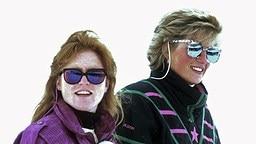Sarah Ferguson (links) und Diana auf der Skipiste in Klosters, Schweiz, am 9.3.1988 © dpa / picture alliance