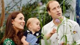 Prinz George und seine Eltern Kate und William bei einem Besuch im Schmetterlingsgarten. Fotograf: John Stillwell
