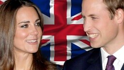 Bildmontage: Prince William und Catherine Middleton vor einer britischen Flagge. © dpa, fotolia Foto: Str, Luka76
