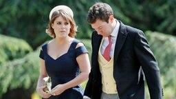 Prinzessin Eugenie und ihr Freund Jack Brooksbank kommen zur Hochzeit von Pippa Middleton. © AP POOL/dpa-Bildfunk Fotograf: Kirsty Wigglesworth
