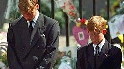 Prinz Harry (rechts) und Prinz William folgen beim Trauerzug am  6. September 1997 der Kutsche mit dem Sarg ihrer Mutter Prinzessin Diana © picture alliance / dpa