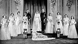 1947: Hochzeitsbild von Prinz Philip und Elizabeth II. in der Westminster Abbey © dpa/empics Fotograf: PA Wire
