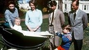 1965: Königin Elizabeth, Prinzessin Anne, Kronprinz Charles, Prinz Philip und Prinz Andrew blicken auf den im Kinderwagen sitzenden Prinz Edward. © Picture-Alliance / dpa / Press Association