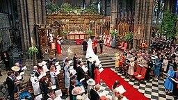 Totale der Westminster Abbey während der Trauung am 29. April 2011. © picture alliance / empics