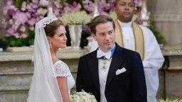 Prinzessin Madeleine und Chris O'Neill bei der Hochzeitszeremonie in der Kapelle von Schloss Stockholm. © dpa Bildfunk / Scanpix Fotograf: Janerik Henriksson