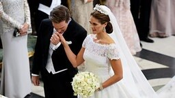 Prinzessin Madeleine und Chris O'Neill während ihrer Hochzeitszeremonie in der Kapelle des Stockholmer Schlosses © dpa Bildfunk / Scanpix Fotograf: Fredrik Sandberg