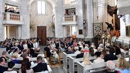 Ein Blick in die Kapelle von Schloss Drottnignholm während der Taufe von Prinz Alexander © dpa-Bildfunk Fotograf: Henrik Montgomery