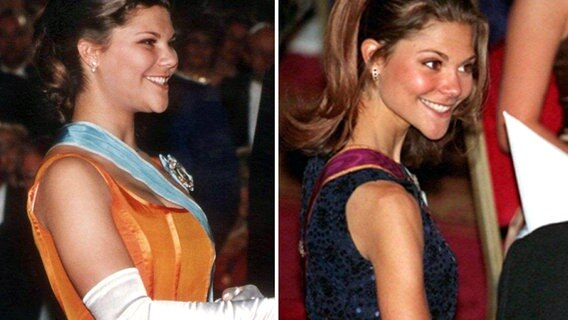 Kronprinzessin Victoria, links im April 1996, rechts - deutlich abgemagert - im November 1997. © picture-alliance / dpa Foto: epa Pressensbild