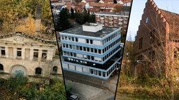 Ruine des Schloss Dwasieden auf Rügen, Firmensitz der GPG in Hannover, Ruine der Klinik Ost in Flensburg
