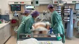Intensivpfleger auf einer Intensivstation stehen vor einem Bett, indem ein Patient liegt. © NDR Foto: Screenshot