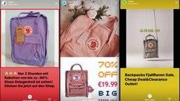 Ein Fake-Shop, der im Internet gefälschte Rucksäcke der Marke Fjällräven anbietet. © NDR Foto: Screenshot