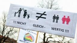 """Ein Schild auf einer Demonstration mit Piktogrammen von einer Familie und homosexuellen Paaren und dem Schriftzug: """"Nicht gleichwertig"""". © NDR"""