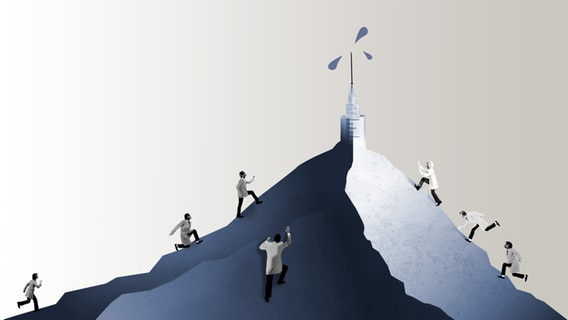 Researchers in white coats climb a mountain with a syringe on top.