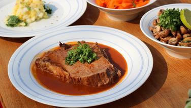 Rinderschmorbraten mit Gemüse und Champignons