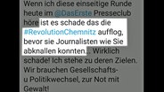 Tweet, der Journalisten bedroht © NDR Foto: Screenshot