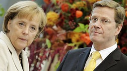 Angela Merkel (CDU) und Guido Westerwelle (FDP) bei den Koalitionsverhandlungen in Berlin © dpa Fotograf: Hannibal Hanschke