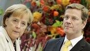 Angela Merkel (CDU) und Guido Westerwelle (FDP) bei den Koalitionsverhandlungen in Berlin © dpa Foto: Hannibal Hanschke