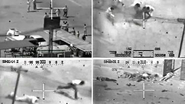 Angriff eines US-Kampfhubschraubers auf Zivilisten und zwei irakische Mitarbeiter der Nachrichtenagentur Reuters in Bagdad am 12.07.2007. © dpa Bildfunk Foto: WikiLeaks