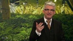 Heinz Strunk vor einer Cannabis-Zucht.