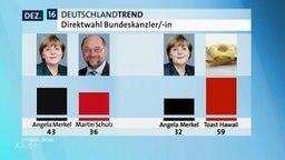 Zwei Säulendiagramme in denen A. Merkel mit einem anderen Politiker und mit einem Toastbrot verglichen wird.