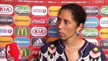 Interview mit Steffi Jones nach der Deutschen Niederlage.