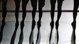 Silhouetten von Volleyballspielern am Netz. © dpa Bildfunk Foto: Mario Ruiz