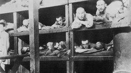 Ausgemergelte Männer liegen dicht an dicht in Holzkojen - Aufnahme von 1944 aus einer Gefangenen-Baracke in Auschwitz. © picture-alliance / Mary Evans Picture Library/WEIMA