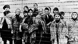 Kinder in Häftlingskleidung hinter einem Stacheldrahtzaun - 1945, kurz nach der Befreiung des KZ Auschwitz. ©  picture alliance / AP Photo