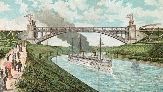 """Die kaiserliche Jacht """"Hohenzollern"""" im Nord-Ostsee-Kanal am 21. Juni 1895 (Farblithographie). © picture-alliance / akg-images"""