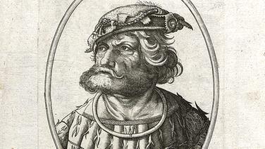Porträts des Ritters Kunz von der Rosen (historischer Stich aus dem Hamburger Staatsarchiv). © Hamburger Staatsarchiv