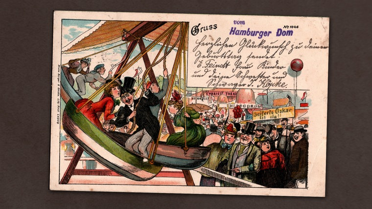 Auf einer alten Postkarte ist die Zeichnung des Hamburger Doms abgebildet.