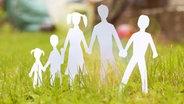 Eine aus Papier ausgeschnittenen Familie im Gras. © photocase.de Fotograf: Lisa Schätzle